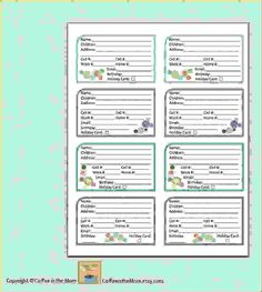 address book contact list pdf printable digital by coffeeinthemorn