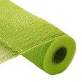 """Metallic Deco Poly Mesh® Ribbon Apple Green with Lime Green Laser Foil Metallic Synthetic material, fabric like mesh netting 21"""" x 10 yd Great for your holiday decorating, bow or wreath"""
