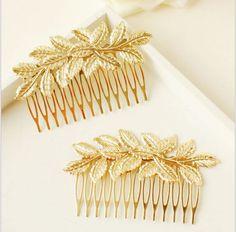 Nuevo diseñador de la llegada de la hoja dorado nupcial del pelo peines de plástico accesorios de calidad para para niñas de la boda Bijoux joyería del pelo