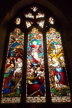 Beautiful stained glass window in the 12th century St Mildred's Church in Tenterden, Kent, England. By B Lowe