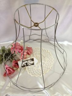 Vintage wire lamp shade frame postcard holder greeting card lamp shade frame wire frame jewelry stand photo frame christmas card holder by thecookieclutch keyboard keysfo Gallery
