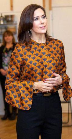 Crown Princess Mary of Denmark Crown Princess Mary, Princess Crowns, Winter Outfits, Casual Outfits, Princess Marie Of Denmark, Royal Colors, Orange Blouse, Danish Royal Family, Princesa Diana