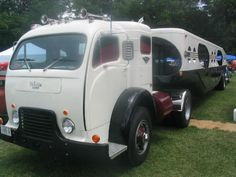 Restored White 3000 COE car hauler. Tractor with fifth wheel trailer