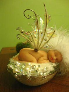 fairy baby SNOW BLOSSOM white ooak art doll wing pearl fantasy fairies crystal