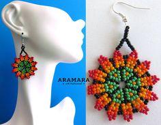 Mexican Huichol Beaded Peyote Flower Earrings AF-0112 by Aramara