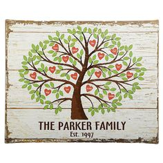 Family Tree of Hearts Personalized Wall Canvas - add up to 24 names on heart shaped leaves.  $49.99