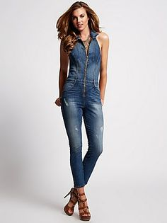 Halter Denim Jumpsuit in Sherry Wash  at Guess