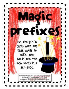 Magic Prefixes - Freebie print this Teaching Grammar, Teaching Language Arts, Teaching Reading, Speech And Language, Teaching Ideas, Guided Reading, Reading Games, Reading Activities, Learning