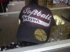 Softball Mom Cap, Softball Mom rhinestone Hat, Softball Hat on Etsy, $20.00