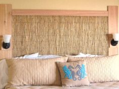 To create this inexpensive yet eye-catching headboard, HGTV fan BeverlyBisso created a perfectly natural combination with three pieces of cedar and grass thatching. The result? A $75 headboard with a coastal feel.