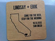 Kraft paper coaster wedding save the date... Louisville for us!
