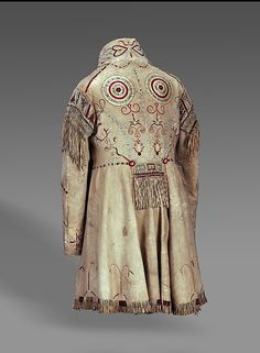 Man's Coat Date: ca. 1840 Medium: Native-tanned leather, porcupine quills, metal hook-and-eyes