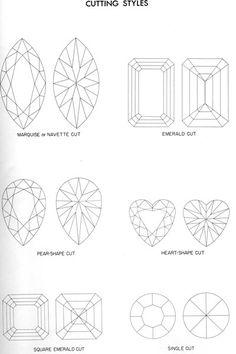 A proper explanation of older cut diamonds with drawings, to show the diffrence between an Old-Mine-Cut Diamond as compared to an Old-European-Cut Diamond, as well as other diamond cutting styles Diamond Guide, European Cut Diamonds, Diamond Cuts, Antique Dealers, Jewels, Antiques, Drawings, Style, Templates