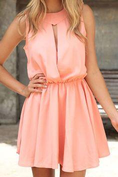 Openwork Pink Sleeveless Dress