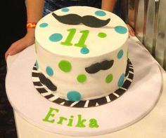 Mustache and Dot Birthday Cake I made.
