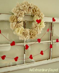Heart Garland and Wreath decorate Vintage Window for Valentine's Day : AnExtraordinaryDay.net