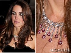 Ruby and diamond necklace worn by Kate Middleton, Duchess of Cambridge     royals britain ,