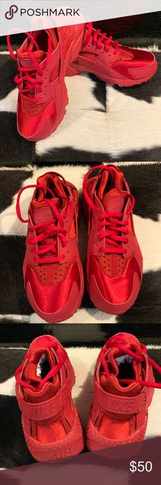 "sale retailer 24bd3 459b5 Women s Air Huarache Run ""All RED"" Released in 2015 sold out everywhere  like new"