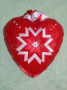 srdce červeno-biele s perleťovými perličkami 15 cm