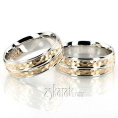 Hammered Basic Carved Wedding Band Set #Wedding #Band #weddingband #ring #25karats