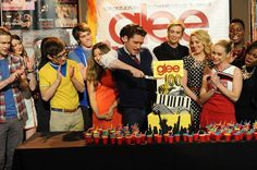 The GLEE cast celebrates during the GLEE 100th Episode on Monday, Feb. 24 in Los Angeles,CA. (Pictured L-R) Chord Overstreet, Melissa Benoist, Kevin McHale, Blake Jenner, Jenna Ushkowitz, Matthew Morrison, Jane Lynch Diane Agron, Becca Tobin, Alex Newell and Amber Riley.