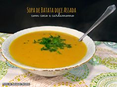 Sopa de batata doce assada coco e cardamomo
