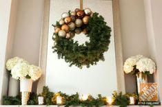 Simple and Elegant Christmas Mantel Decorations: DIY Wreath with Hydrangeas and LED Tealights