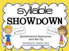 A resource pack for teaching syllable types and syllabication!  Great to use with Wilson Reading system and Fundations $