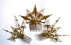 Castilian Sunburst Hair Comb Set Steampunk Accessory-Choose: Black, Gold, Mixed Colors
