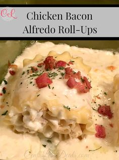 Chicken Bacon Alfredo Roll-Ups recipe! These are beyond delicious! They are super rich but may be the best food I have ever eaten! I made this for a dinner party and people have been raving about them ever since!! SOOOO delicious!