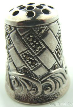 Rare-Collectors-Sterling-Silver-Marcasite-Thimble-P148