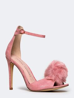 Check out this product on Wanelo Strappy Heels, Stiletto Heels, High Heels, Shoes Heels, Pumps, Pink Shoes, New Shoes, Pom Pom Sandals, Chinese Laundry Shoes