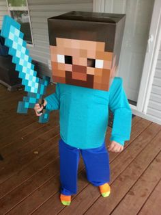 Vaughn as Steve from minecraft, Minecraft Halloween Costume, Teen Boy Halloween Costume, Teen Boy Costumes, Minecraft Costumes, Minecraft Party, Halloween Kids, Mine Minecraft, Steve Costume, Storybook Character Costumes