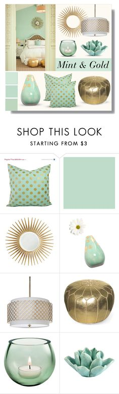 """""""Mint & Gold"""" by lgb321 ❤ liked on Polyvore featuring interior, interiors, interior design, home, home decor, interior decorating, Mirror Image Home, Regina-Andrew Design, Dot & Bo and bedroom"""