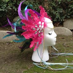 Feather headdress peacock headdress. by JrPastiesLove on Etsy