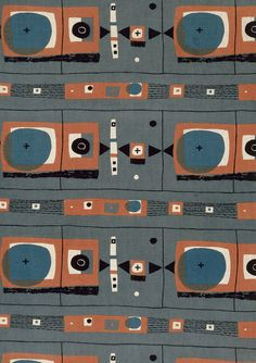 1950s textiles. Flat colours with more shapes overlapping. it looks really 2D which is common amongst 1950's design.