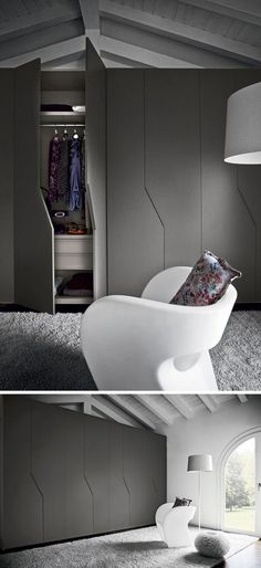 Cupboard doors with unconventional design to boost the decor portes placard en noir mat, chaise design en blanc neige et tapis gris - Door Cabinet Door Designs, Bedroom Cupboard Designs, Bedroom Cupboards, Cupboard Door Design, Alcove Cabinets, Tv Cabinets, Wardrobe Design Bedroom, Bedroom Closet Design, Bedroom Furniture Design
