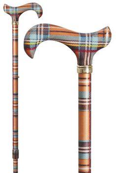 Fashionable extendible derby cane in multicoloured tartan design that makes a bold statement. Irish Tartan, Scottish Plaid, Tartan Plaid, Plaid Flannel, Scottish Dress, Scottish Fashion, Tartan Decor, Tweed, Tartan Fashion