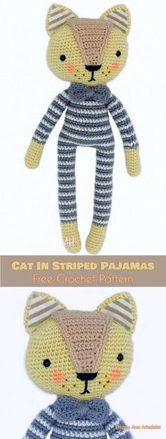 Cat in Striped Pajamas Amigurumi Doll Pattern #freecrochetpatterns #amigurumi #amigurumidoll #amigurumitoy #crochetcat