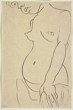 """Three-Quarter Nude, Head Partly Showing (Nu de trois-quarts, une partie de la tête coupée)  Henri Matisse (French, 1869–1954)    (1913). Transfer lithograph, composition: 19 13/16 x 12"""" (50.3 x 30.5 cm); sheet: 19 13/16 x 12 15/16"""" (50 x 32.9 cm). Frank Crowninshield Fund. © 2012 Succession H. Matisse, Paris / Artists Rights Society (ARS), New York"""