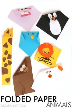 Beautiful Oops Folded Paper Animals Crafts - The OT Toolbox Folded Paper Animals craft based on the book Beautiful Oops, maybe you can try to make your sponsored child's favorite animal with this creative paper folding method Paper Animal Crafts, Animal Crafts For Kids, Paper Animals, Art For Kids, Paper Crafts, Creative Activities, Craft Activities For Kids, Preschool Crafts, Creative Play