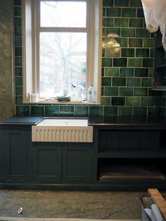 lovely dark green, handmade metro tiles are now available from