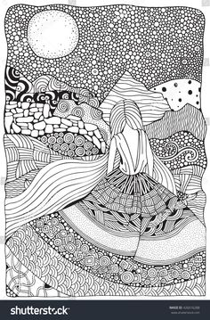 Young Girl With Long Hair. Beautiful, Long Dress In Zentangle Style. Adult Color… Young Girl With Long Hair. Beautiful, Long Dress In Zentangle Style. Adult Coloring Book Page In Doodle Art Drawing, Zentangle Drawings, Art Drawings, Drawing Ideas, Doodling Art, Book Drawing, Drawing Hair, Doodles Zentangles, Drawing Faces
