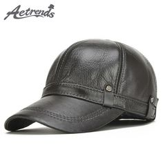 AETRENDS  2017 New Winter Men s 100% Leather Baseball Cap Men Warm Hats  with Ears Flap Z-5304 3c65e9662003