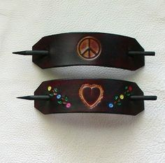 I used to wear these....Hippie Style Leather Hair Barrettes Peace by ExpressionsInLeather, $10.00