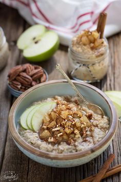 Cinnamon Apple Pie Oatmeal is the perfect healthy way to start the day. Best of all, it's so easy to make ahead and has all the cozy flavors of apple pie.