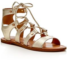 Light Gold tie up gladiator sandals. Dolce Vita Jasmyn Metallic Lace Up Flat Sandals