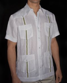 Short Sleeve Guayabera Wedding Shirt, Short Sleeve Guayabera, Short Sleeve Mexican Wedding Shirt in White with Green Ribbon by Debra Torres