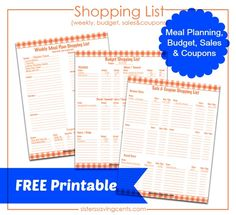 FREE Printable Shopping List: Weekly, Budget, Sales and Coupons