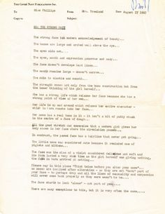 """Take a Memo - Memo to Miss Phillips regarding """"The Strong Face,"""" from Diana Vreeland"""